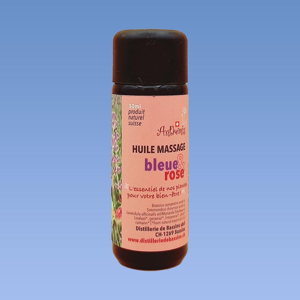 Huile de massage bleue rose